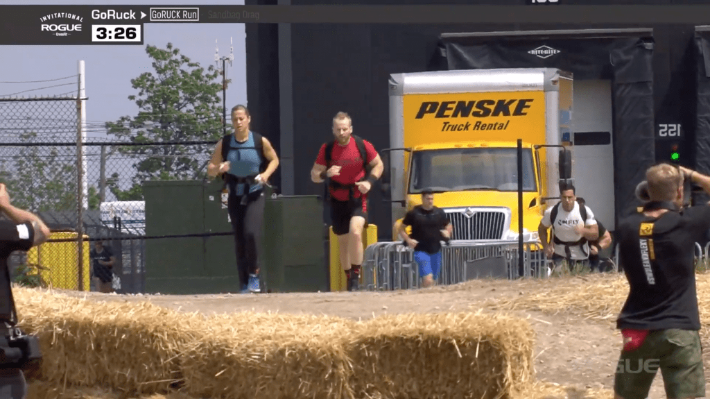 Becca Voight leads the Legends GoRuck, followed by Graham Holmberg in second and Jason Khalipa in third.