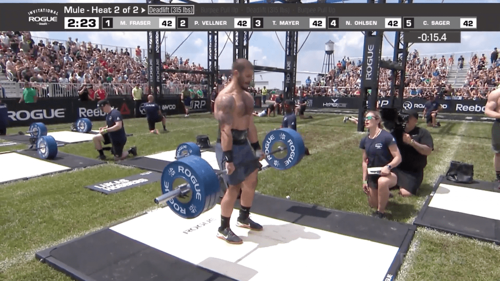 Mathew Fraser is first back to the bar for his second set of deadlifts.