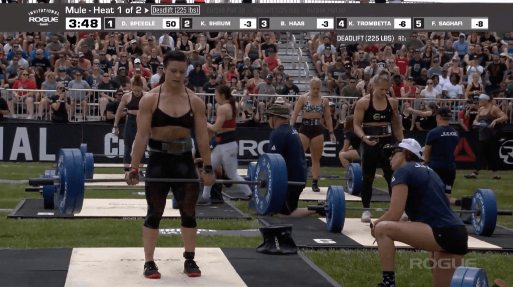 The first head of elite women take on the deadlifts in Event 2: The Mule.