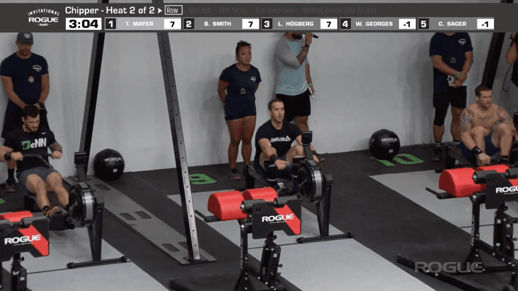 Travis Mayer (right) passes Ben Smith about 85 calories into the row portion of the Chipper.
