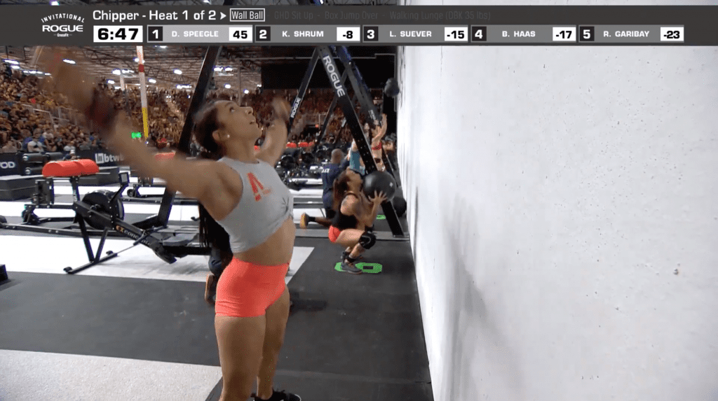 Rachel Garibay completing her wall balls in the first heat.