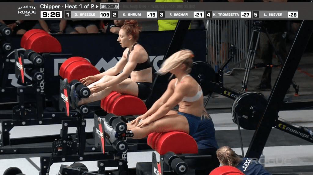 Karine Shrum and Dani Speegle complete their GHD sit-ups at the Rogue Invitational.