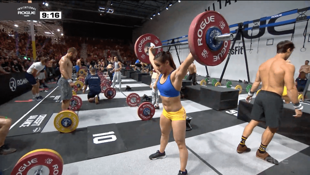 Camille Leblanc-Bazinet finishes her last snatch in event 3 of the Rogue Invitational team event.