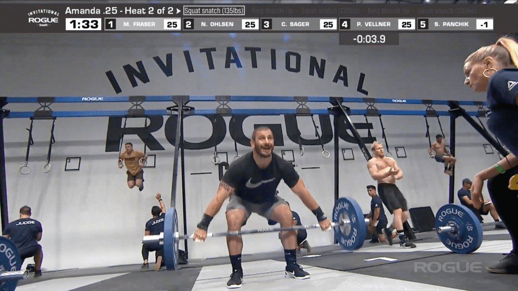 Mathew Fraser and Patrick Vellner head back to the bar for their round of seven squat snatches.