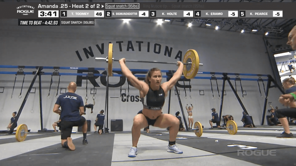 Tia-Clair Toomey finishes her set of three squat snatches. She went on to win the event.