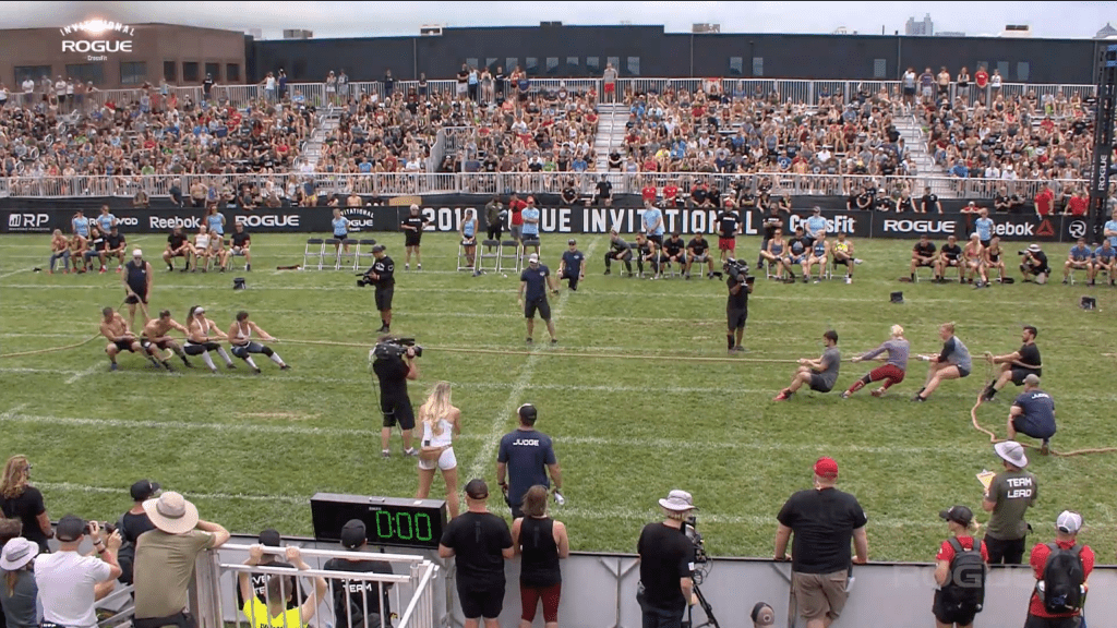 CrossFit Mayhem Freedom loses to CrossFit Team OC3 in the semifinal round of the Rogue Invitational elimination dub-of war event.