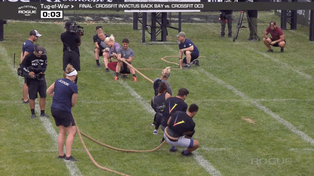 CrossFit Invictus Back Bay takes on CrossFit OC3 in the final round of Tug-of-War. OC3 wins the event.