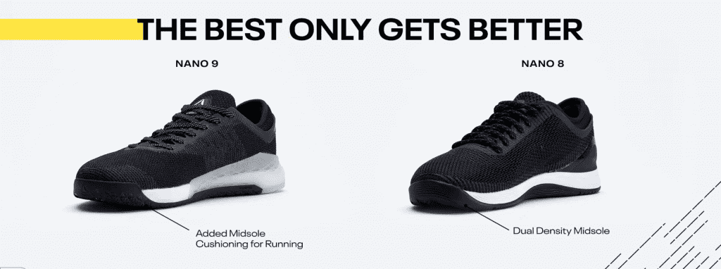 The Reebok Nano 8 featured a dual-density mid-sole. Reebok iterates on this with the Reebok Nano 9, adding midsole cushioning for running. Image courtesy of Reebok.
