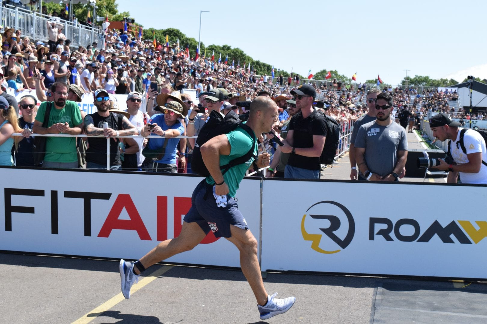 Cole Sager of CrossFit Spokane Valley completes the Ruck Run event at the 2019 CrossFit Games