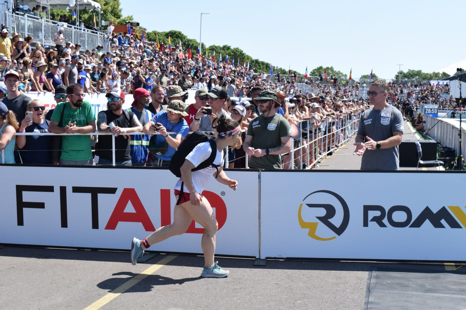 Kari Pearce completes the Ruck Run event at the 2019 CrossFit Games