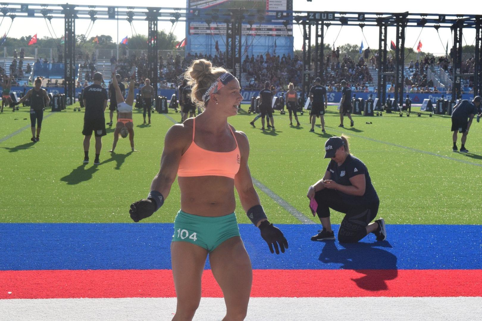 Amanda Barnhart crosses the finish line at the 2019 CrossFit Games