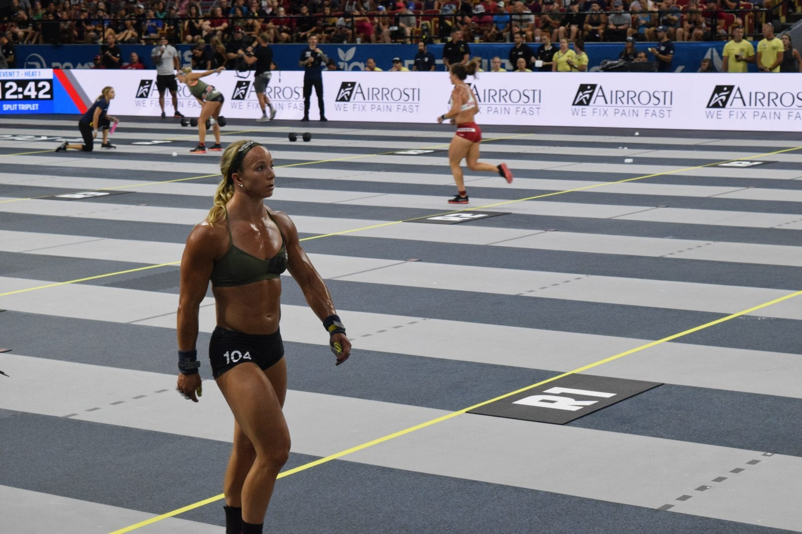 Amanda Barnhart on the floor of the Coliseum at the 2019 CrossFit Games