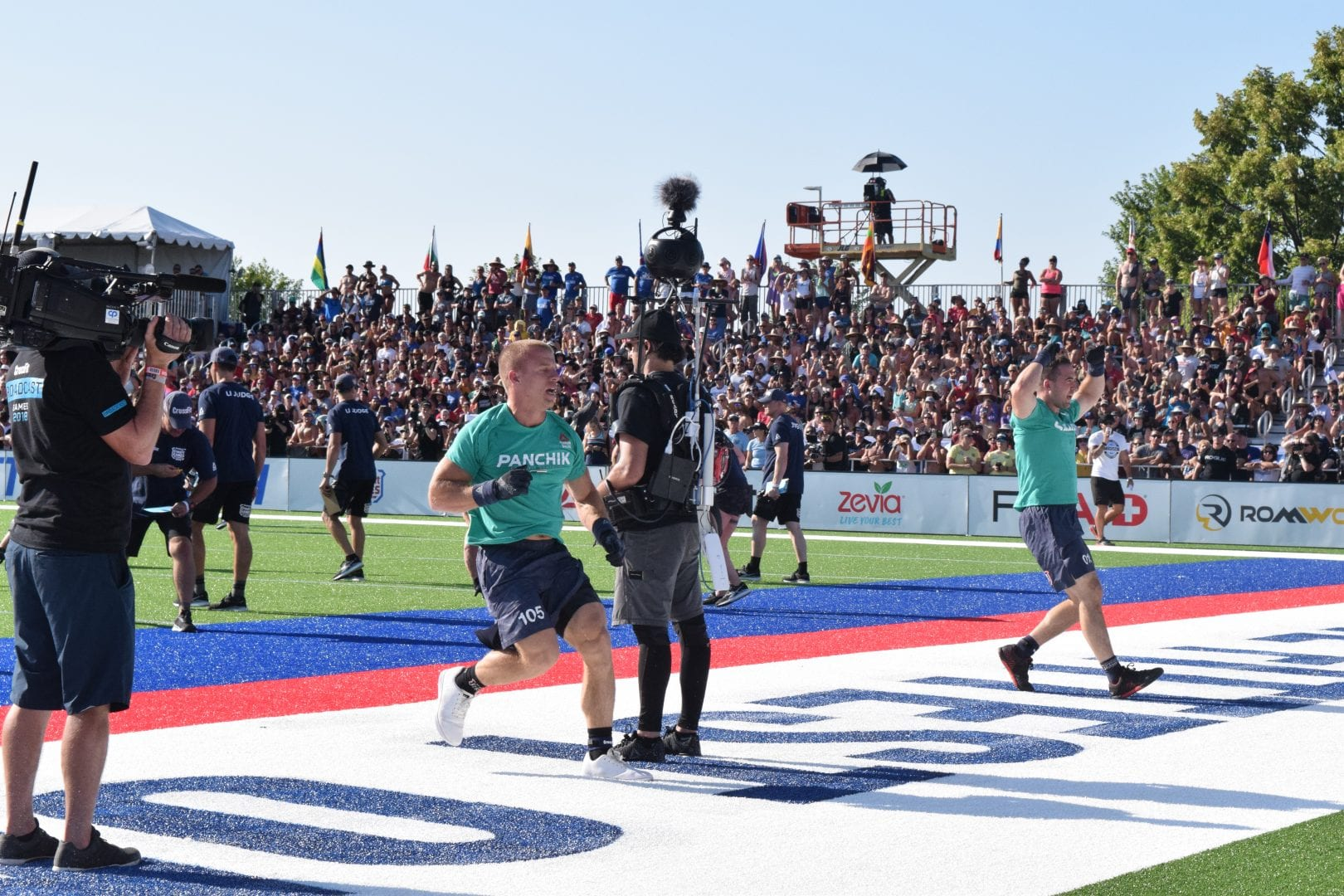 Scott Panchik crosses the finish line at the second event of the 2019 CrossFit Games