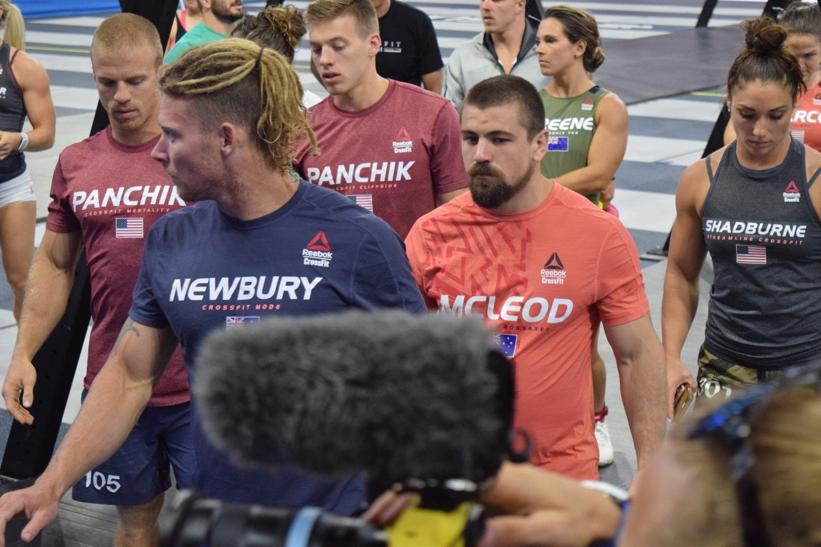 Scott Panchik on the floor of the coliseum on the final day of competition at the 2019 CrossFit Games.