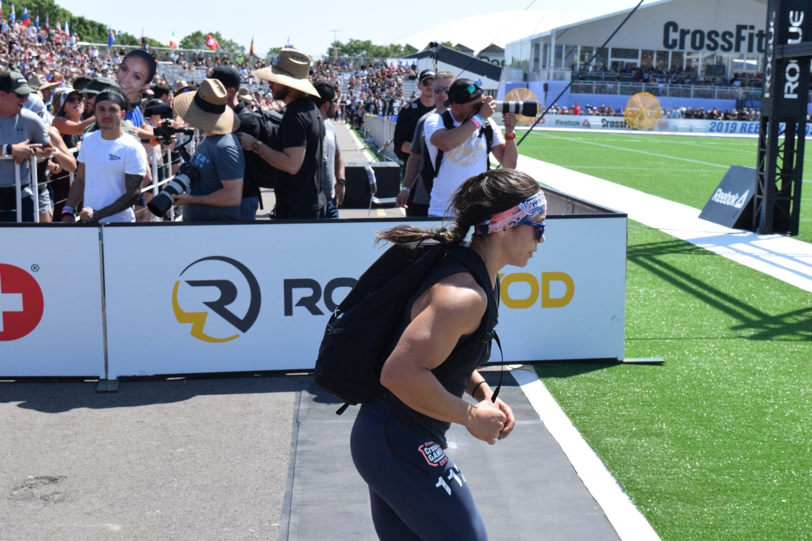 Feeroozeh Saghafi competes in the Ruck Run event at the 2019 CrossFit Games.