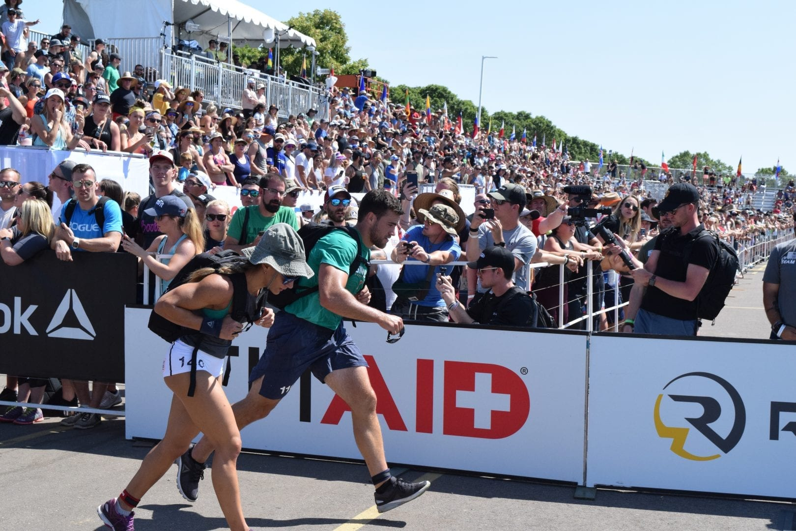 Alex Vigneault of Canada completes the Ruck Run event at the 2019 CrossFit Games