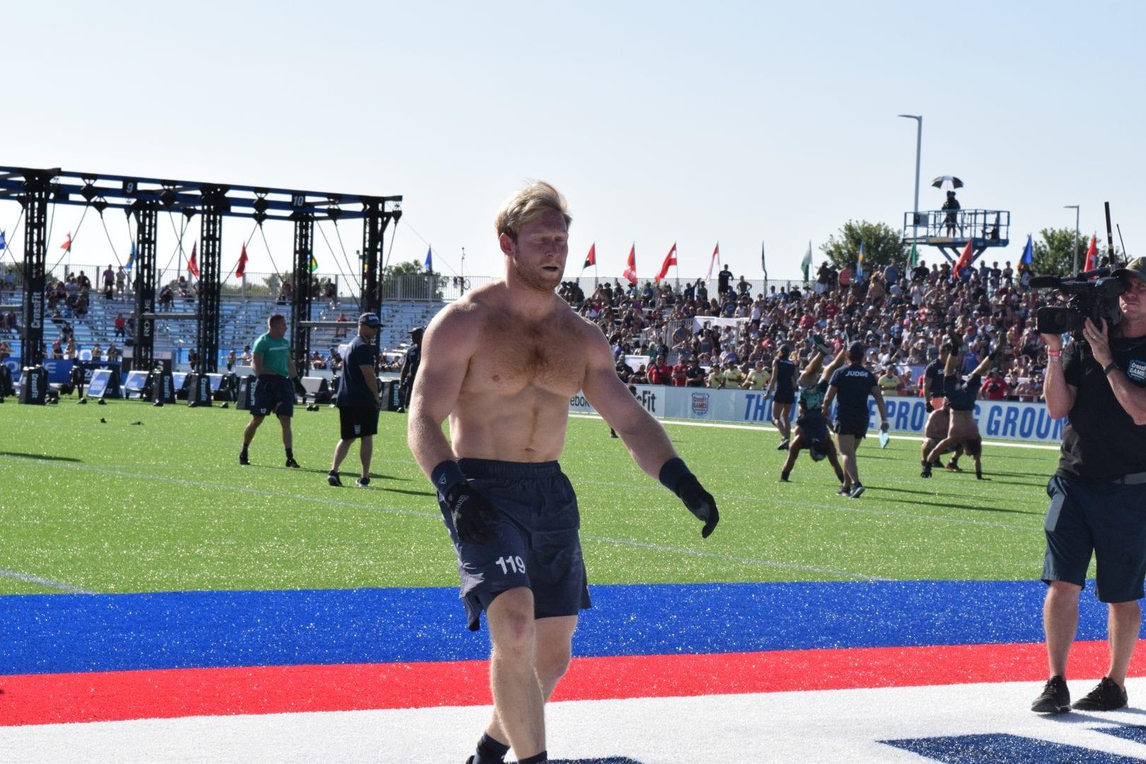 Patrick Vellner crosses the finish line at the 2019 CrossFit Games