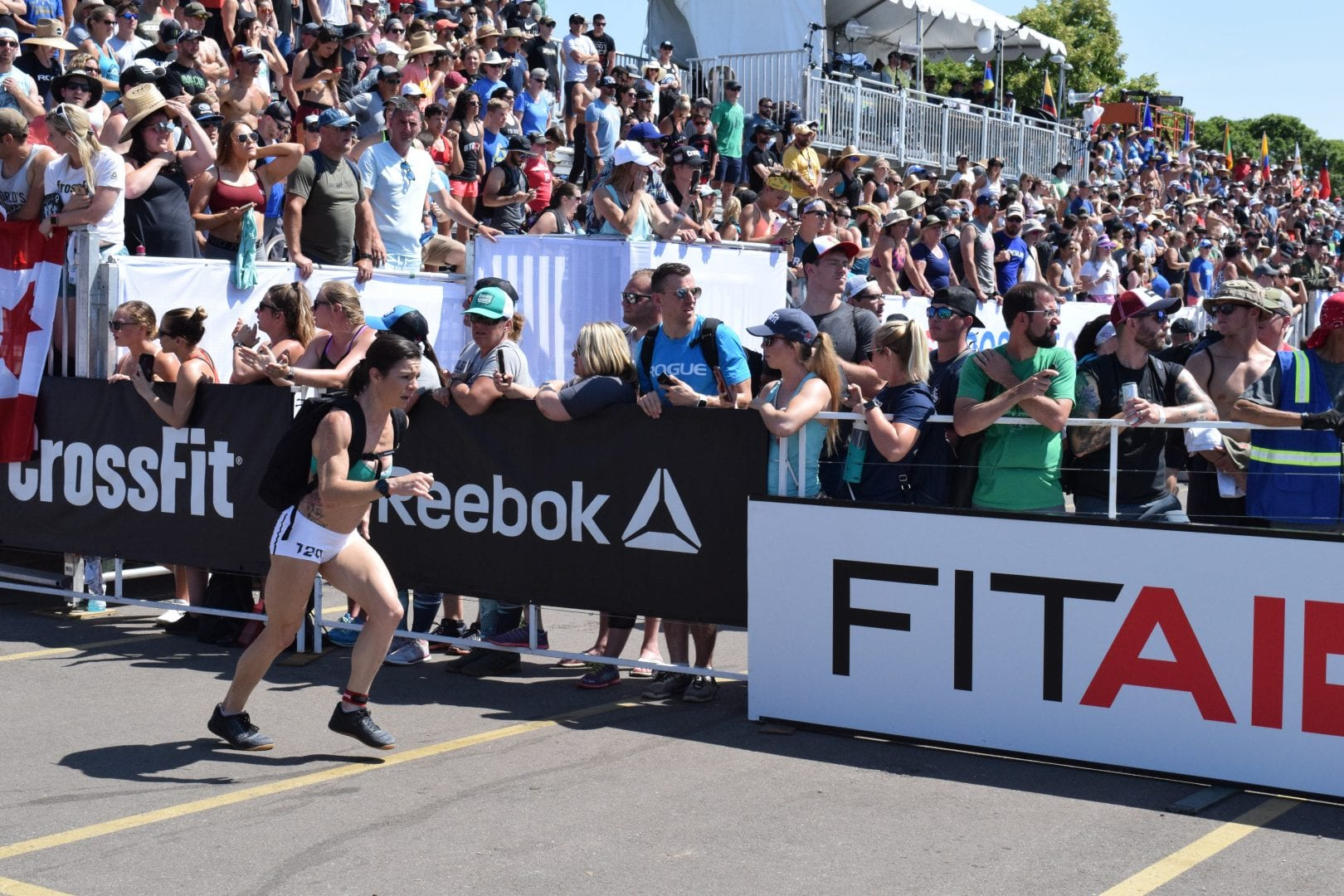 Cheryl Nasso of the United States completes the Ruck Run event at the 2019 CrossFit Games