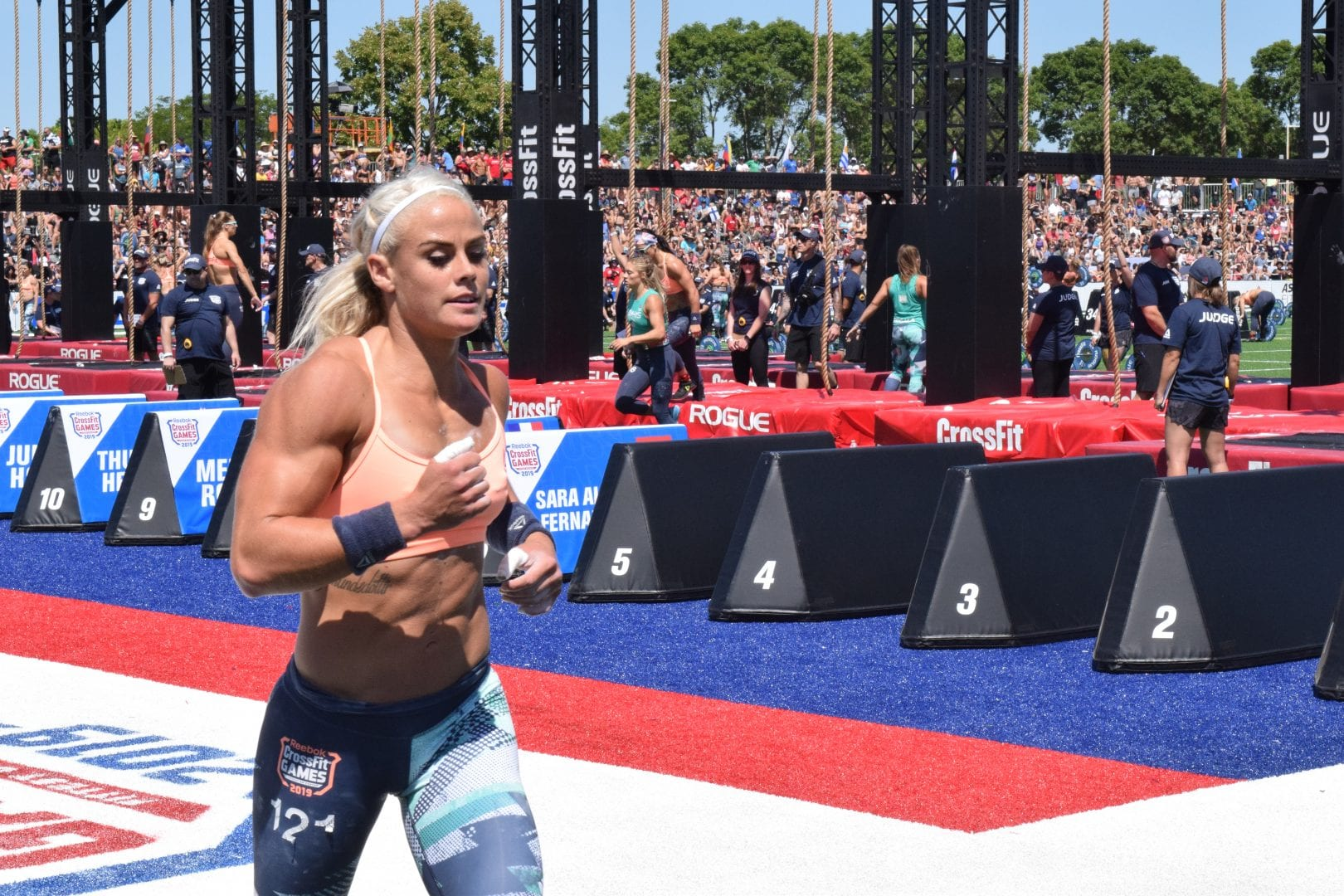 Sara Sigmundsdottir takes a lap between rounds of legless rope climbs at the 2019 CrossFit Games