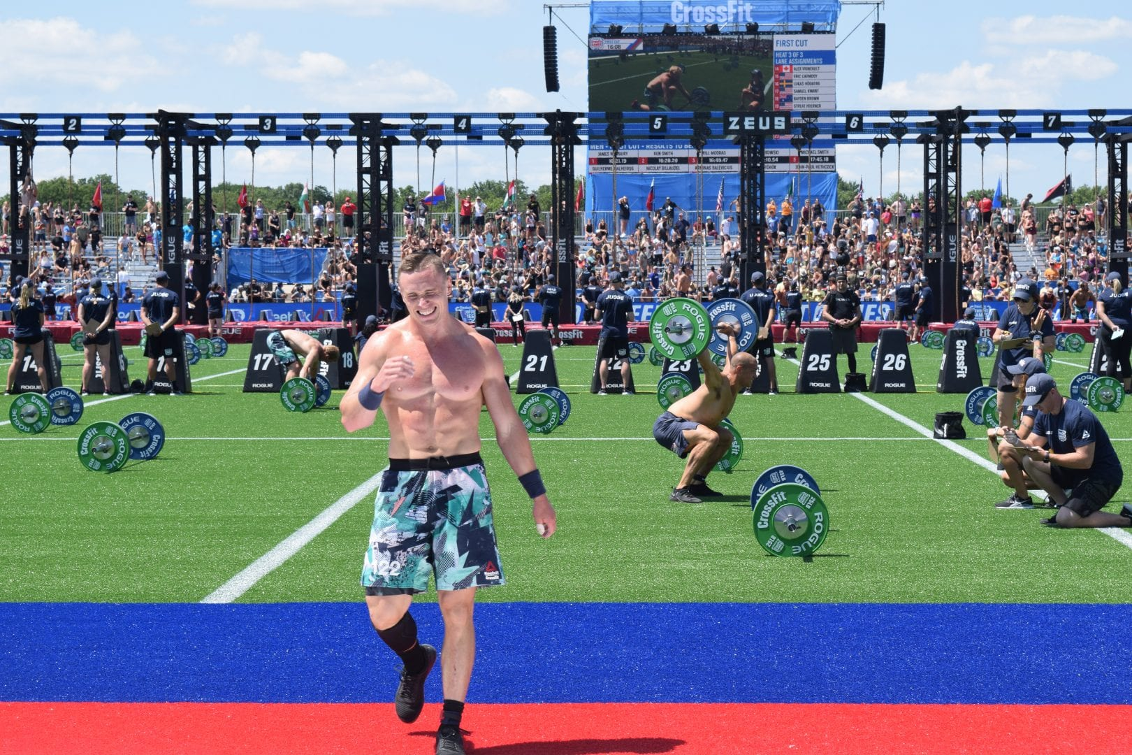 Bjorgvin Karl Gudmundsson crosses the finish line of the first event at the 2019 CrossFit Games