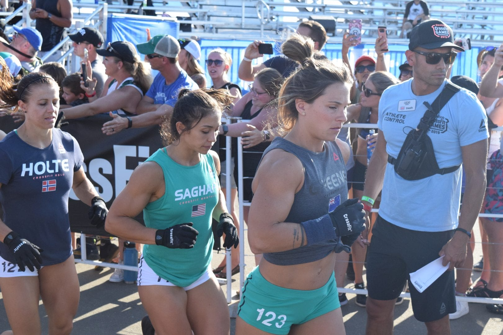 Jamie Greene enters the stadium for the first event of the 2019 CrossFit Games