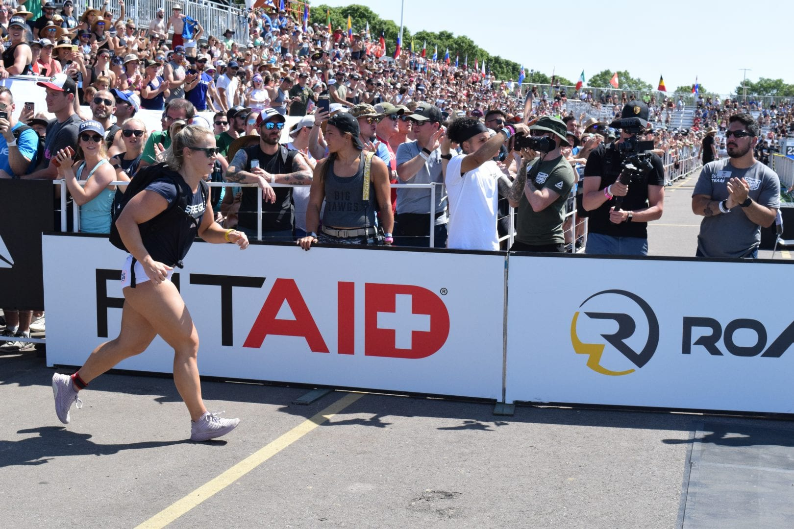 Dani Speegle completes the Ruck Run event at the 2019 CrossFit Games.
