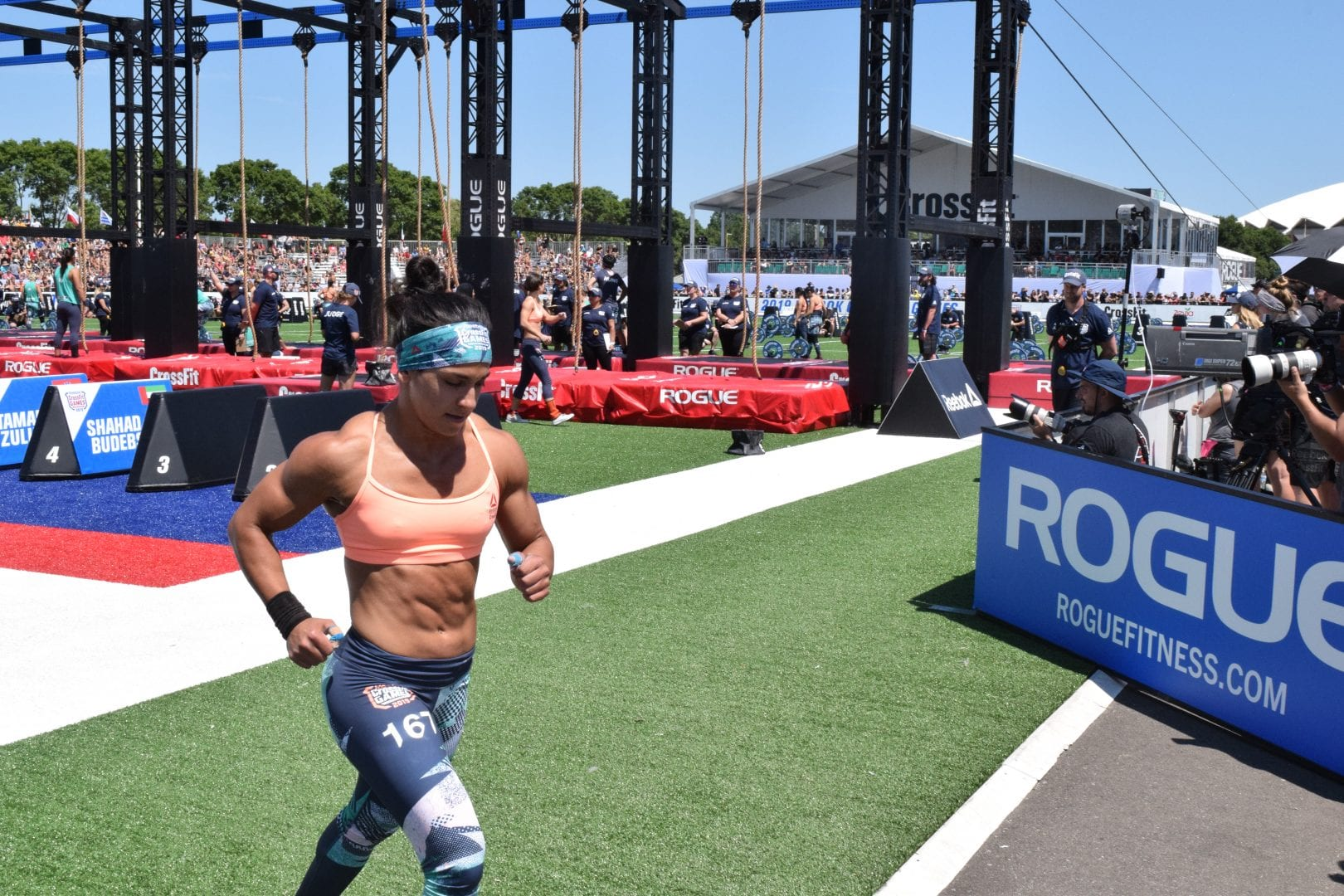 Anna Fragkou takes a lap between rounds of legless rope climbs at the 2019 CrossFit Games
