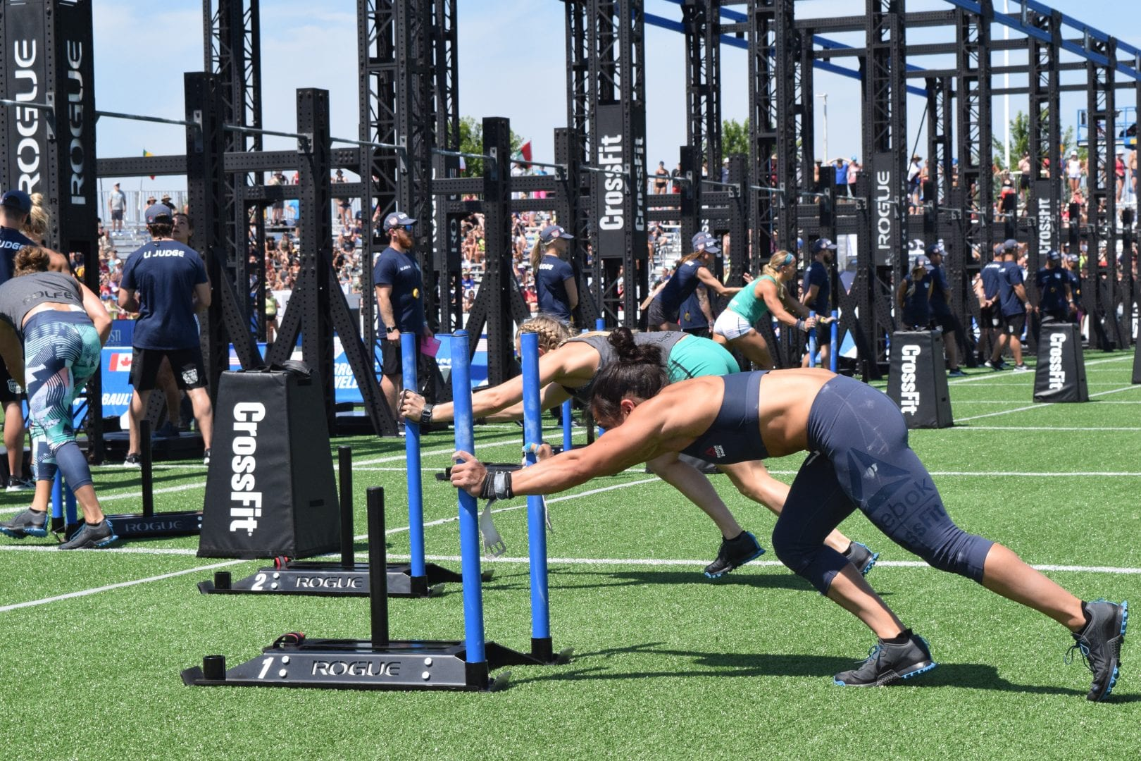 Anna Fragkou completes the Sprint Bicouplet event at the 2019 CrossFit Games.