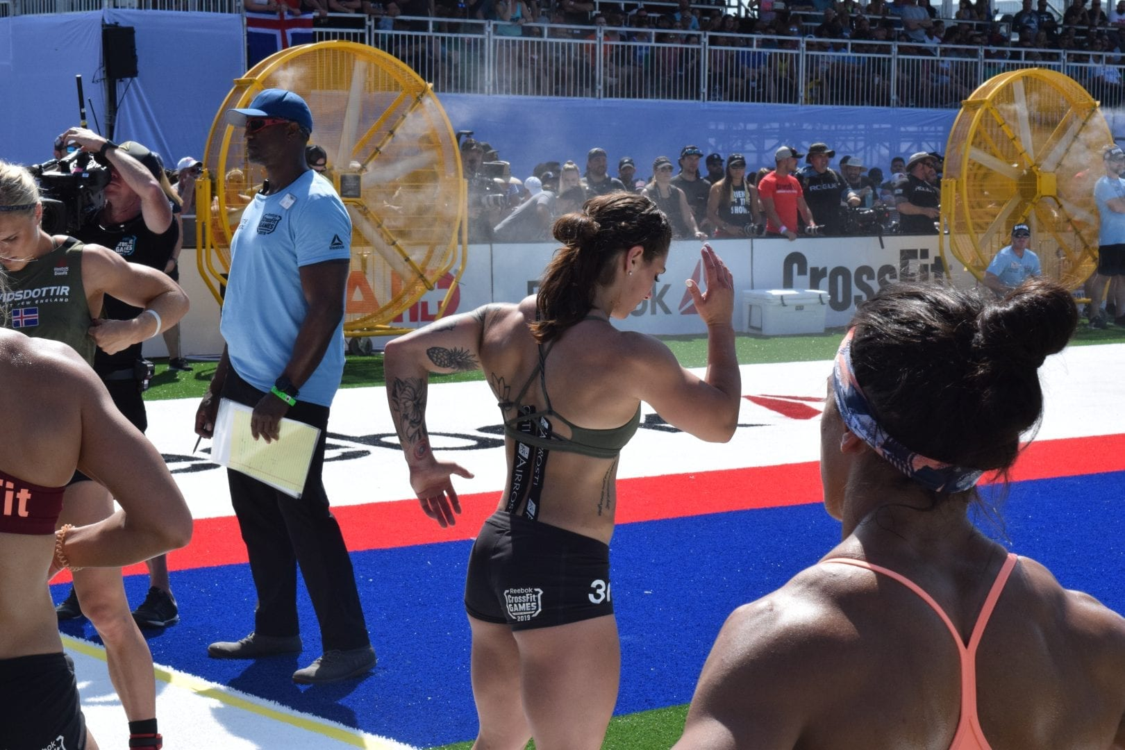 Bethany Shadburne of Streamline CrossFit warms up for a heat of the Sprint event at the 2019 CrossFit Games
