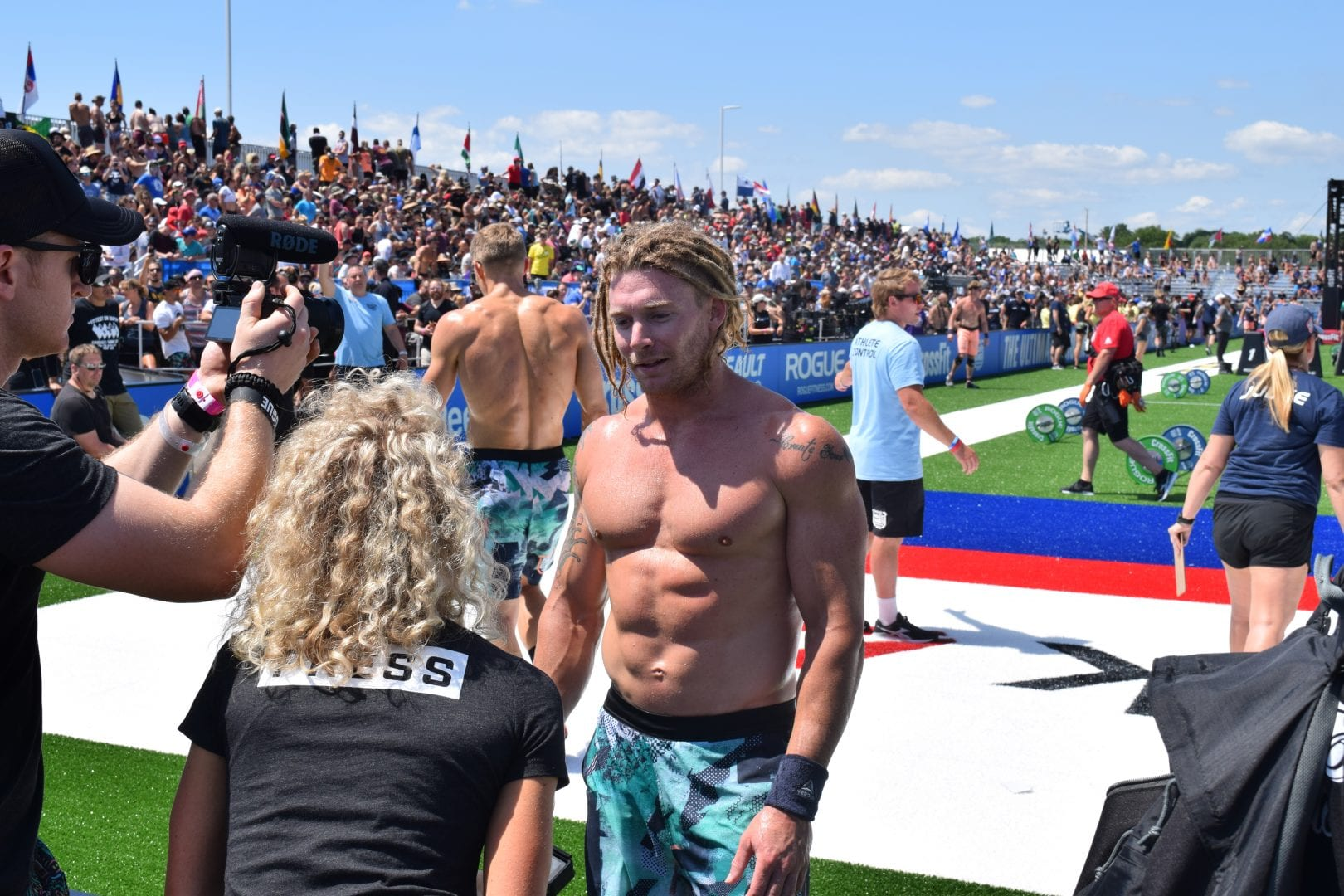 James Newbury is interviewed after completing an event at the 2019 CrossFit Games