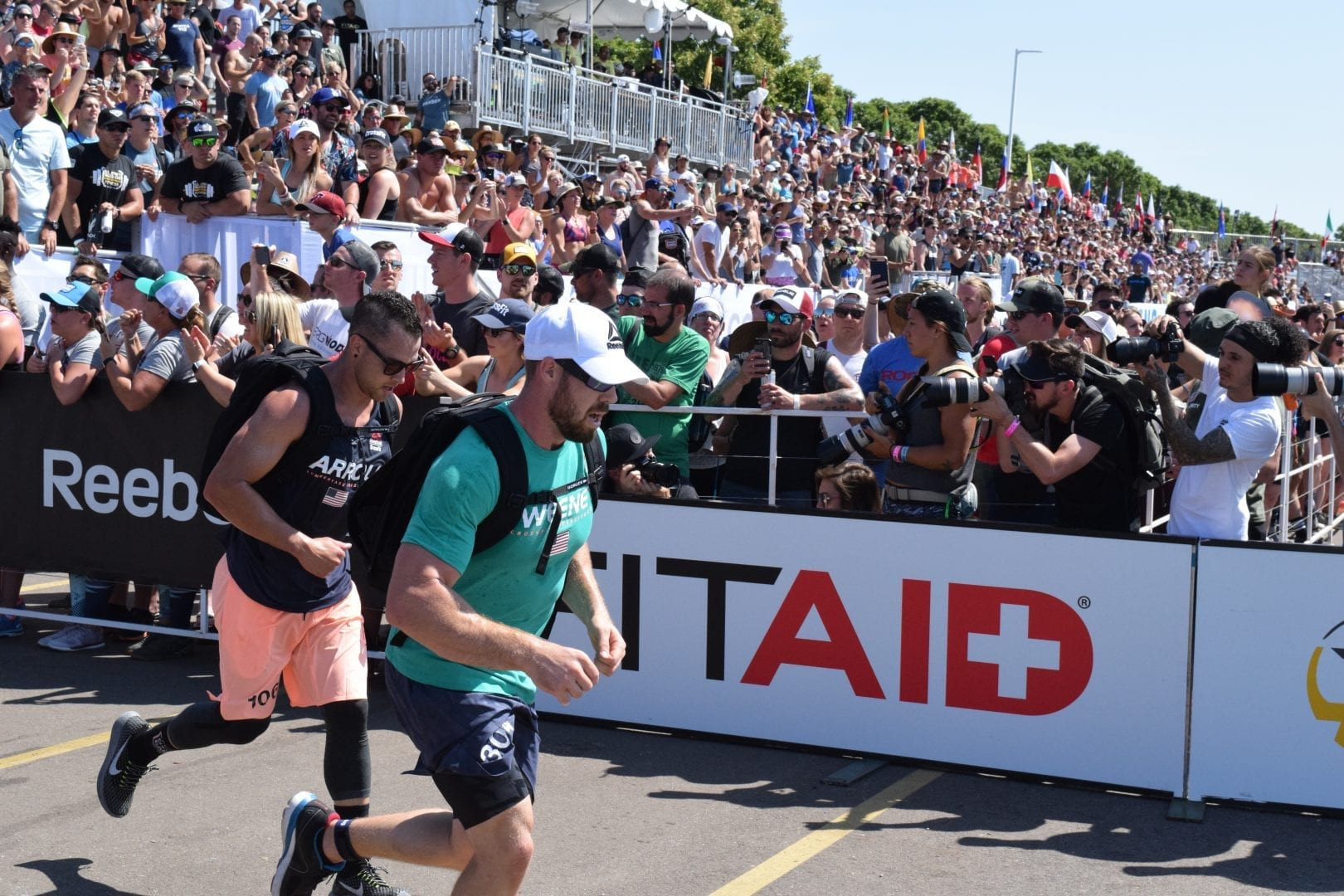 Sean Sweeney, the CrossFit Cowboy of CrossFit Powerstroke, completes the Ruck Run event at the 2019 CrossFit Games