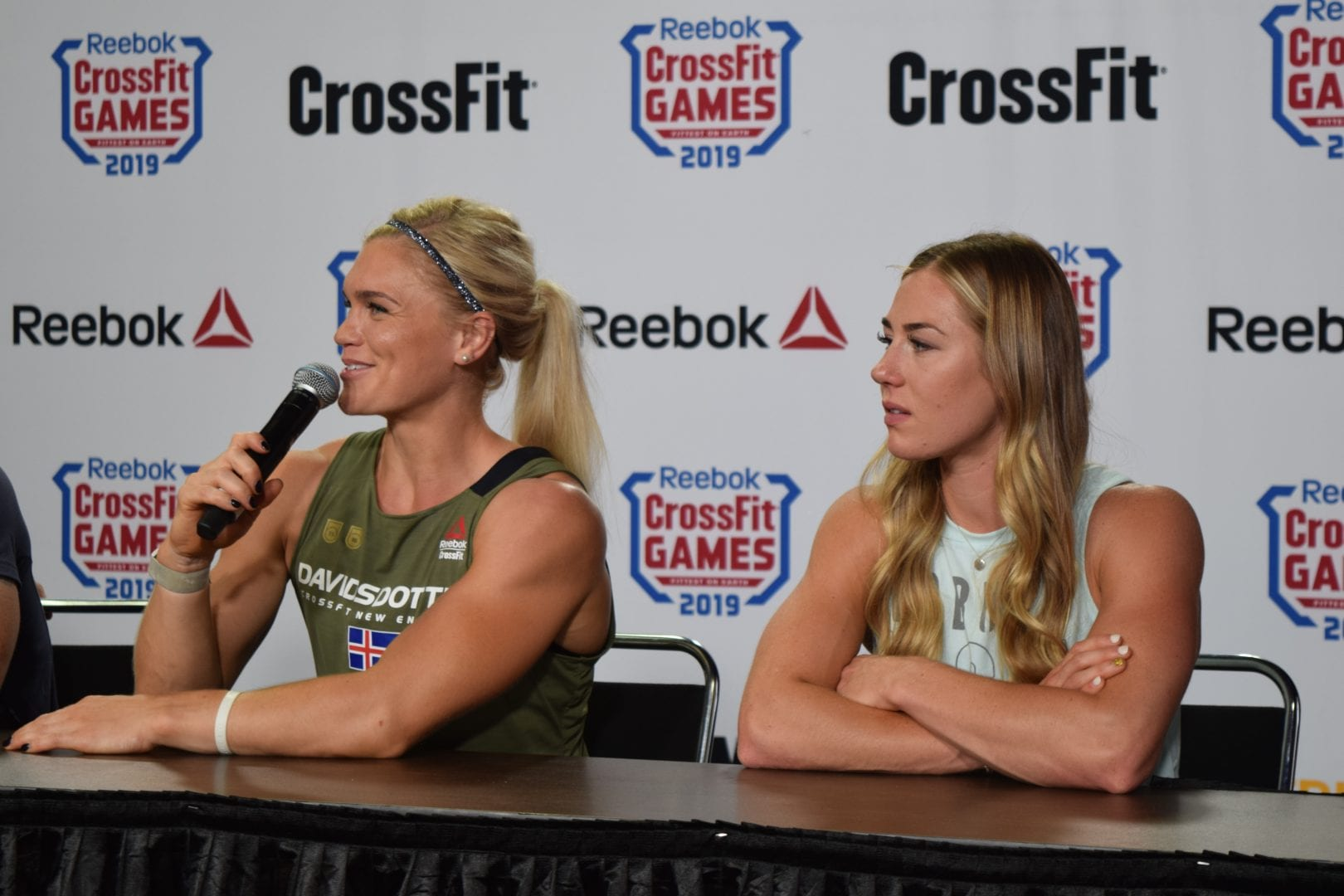 Katrin Davidsdottir answers questions alongside Brooke Wells at the day three press conference at the 2019 CrossFit Games.